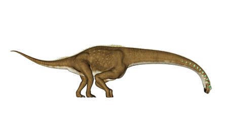 Giraffatitan dinosaur drinking - 3D render Banque d'images