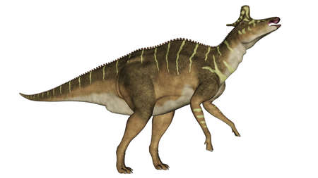 Lambeosaurus dinosaur eating - 3D render