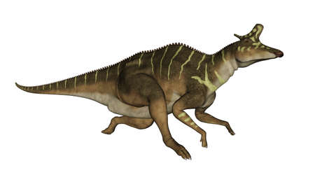 Lambeosaurus dinosaur running - 3D render Banque d'images
