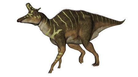 Lambeosaurus dinosaur walking - 3D render