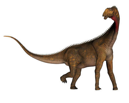 Mesiasaurus dinosaur walking - 3D render