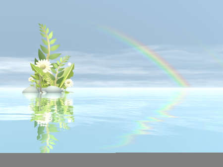 Peaceful plant and flower - 3D render Standard-Bild