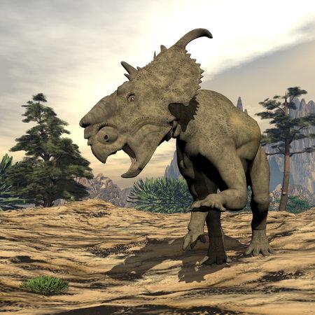 Pachyrhinosaurus dinosaur roaring - 3D render Banque d'images