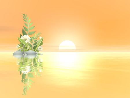 Peaceful plant and flower - 3D render Standard-Bild - 160316816