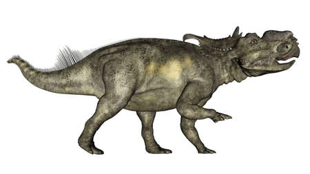 Pachyrhinosaurus dinosaur walking - 3D render Banque d'images