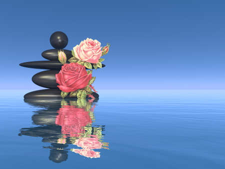 Peaceful stones and flower - 3D render
