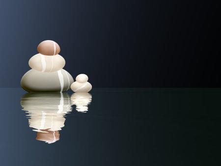 Peaceful stones - 3D render Standard-Bild