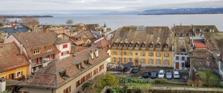 Aerial view of Nyon and Geneva Leman lake, Switzerland Standard-Bild
