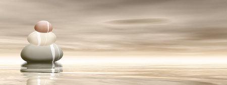 Peaceful stones - 3D render Standard-Bild - 160779216