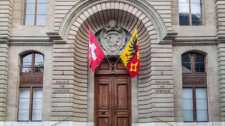 Justice court entrance in Geneva, Switzerland Standard-Bild