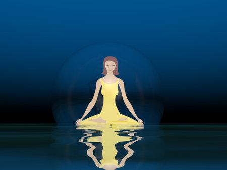 Woman meditation - 3D render Standard-Bild - 161033535