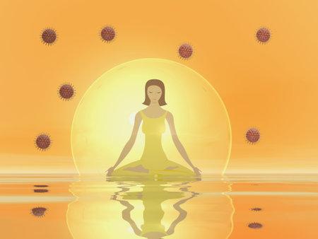 Woman meditation to protect from corona covid virus - 3D render Standard-Bild