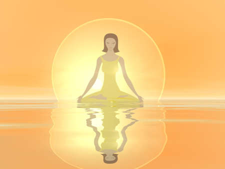 Woman meditation with reflection on the water Standard-Bild