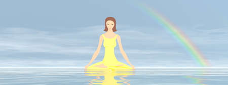 Woman meditation with reflection from the water