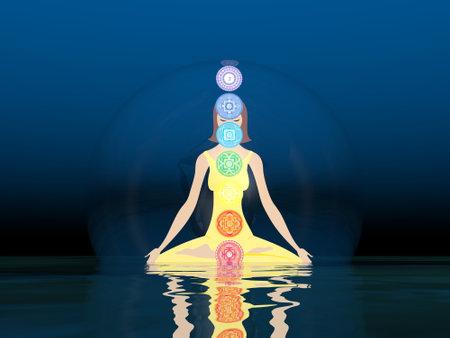 Woman meditation and chakras - 3D render Standard-Bild