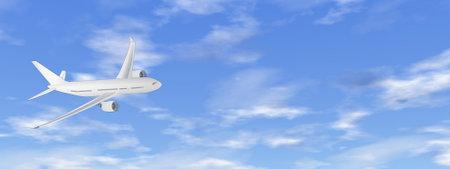 Airplane flying in the sky - 3D render Standard-Bild