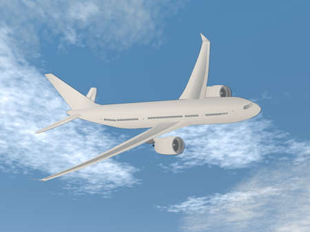 Airplane flying in the sky - 3D render Standard-Bild - 161983513