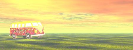 Retro travel bus camper for holidays - 3D render