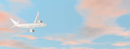 Airplane flying in the sky - 3D render Standard-Bild - 161982155