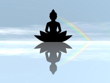 Buddha meditating - 3D render Standard-Bild - 162024424