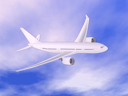 Airplane flying in the sky - 3D render Standard-Bild - 162024425