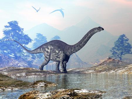 Apatosaurus dinosaur walking 3D render Standard-Bild - 162447819
