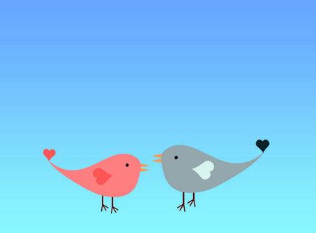 Two love birds on blue Standard-Bild - 162447820