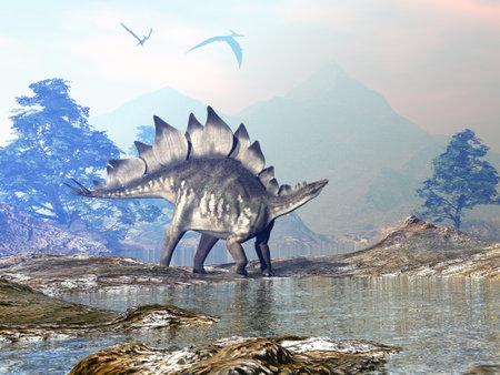 Stegosaurus dinosaur walking - 3D render Standard-Bild