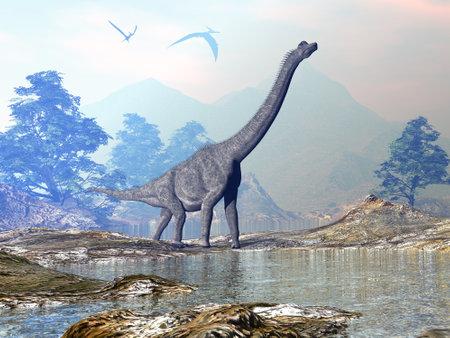 Brachiosaurus dinosaur walking - 3D render Standard-Bild