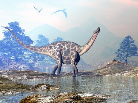 Dicraeosaurus dinosaur walking - 3D render Standard-Bild