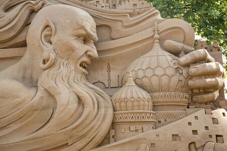 incubus: SAINT-PETERSBURG, RUSSIA. 3 JUNY 2016. Sand sculpture in Peter and Paul Fortress.