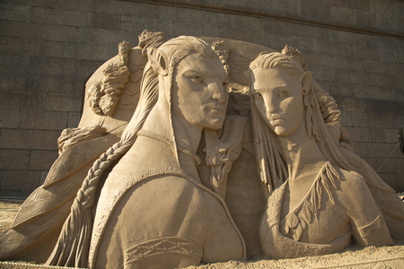 SAINT-PETERSBURG, RUSSIA. 3 JUNY 2016. Sand sculpture in Peter and Paul Fortress.
