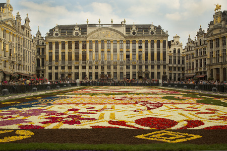 european: BRUSSELS, BELGIUM, 14 AUGUST 2016. Floral Carpet Festival on the famous Grand Place square. Editorial