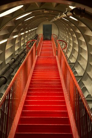BRUSSELS, BELGIUM, 14 AUGUST 2016. Stairs to the Atomium, designed for Expo 58, the 1958 Brussels Worlds Fair.