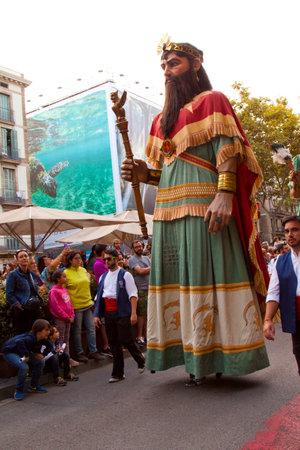 merce: BARCELONA, CATALONIA, SPAIN. 24 SEPTEMBER 2015. La Merce Festival in Barcelona. The march through the city center. Editorial