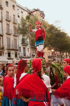 TARRAGONA, CATALONIA, SPAIN. 23 SEPTEMBER 2015. The Santa Tecla Festival in Tarragona. The march through the city center. Editorial
