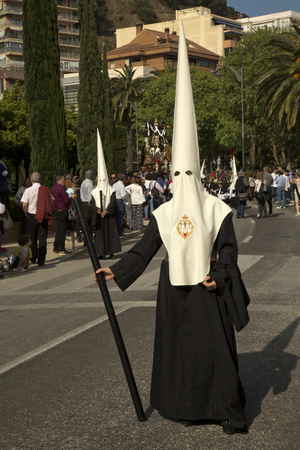 MALAGA, Andalusia, SPAIN. 14 APRIL 2017. Holy Week procession in Malaga.