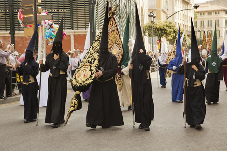 MALAGA, Andalusia, SPAIN. 16 APRIL 2017. Holy Week procession in Malaga. Editorial