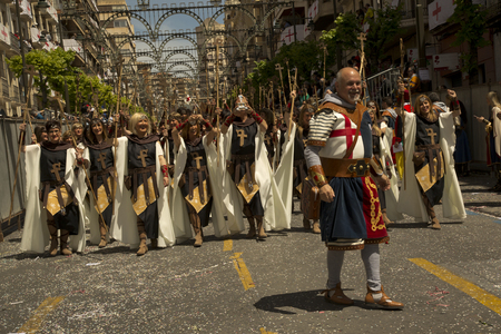 ALCOY, ALICANTE, SPAIN. 22 APRIL 2017. Festival of the Moors and Christians. The march through the city center.