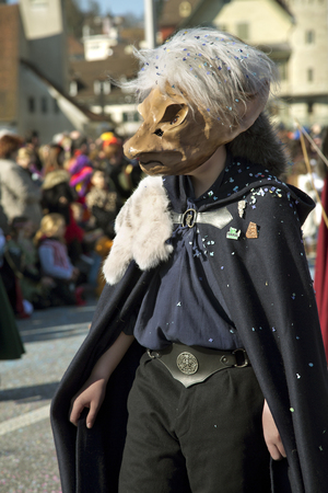 LUZERN, SWITZERLAND, 27 FEBRUARY 2017. The traditional carnival parade of carnival masks.