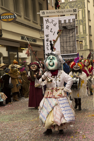 LUZERN, SWITZERLAND, 28 FEBRUARY 2017. The traditional carnival parade of carnival masks . Editorial