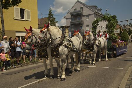 LUDWIGSBURG, GERMANY , 10 JUNE 2018.  Horse market (Pferdemarkt). Costume parade in the city center in Ludwigsburg, Germany.