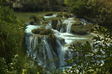View of waterfalls in Krka national park, Croatia.
