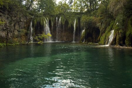 View of  waterfalls in Plitvice Lakes National Park, Croatia.