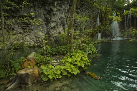 View of  waterfalls in Plitvice Lakes National Park, Ð¡roatia.