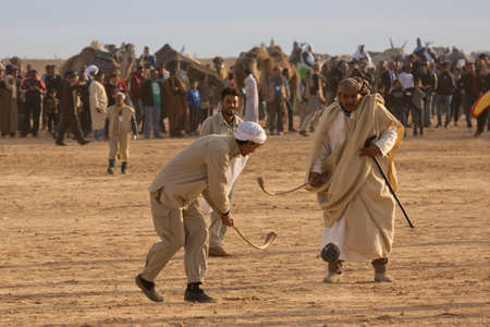 DOUZ,TUNISIA. 20 DECEMBER 2018.  Festival of the Sahara in Douz, Tunisia. Sand hockey.