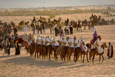 DOUZ,TUNISIA. 20 DECEMBER 2018.  Festival of the Sahara in Douz, Tunisia 報道画像