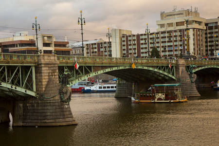 PRAGUE, CZECH REPUBLIC, 30 DECEMBER 2018. The  Chekhov bridge on the Vltava river  in Prague, Czech Republic.