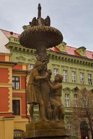 PRAGUE, CZECH REPUBLIC, 30 DECEMBER 2018. Wimmer's fountain in the Coal market in Prague, Czech Republic. 報道画像