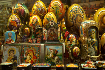 PRAGUE, CZECH REPUBLIC, 30 DECEMBER 2018. Souvenirs for sale in Prague, Czech Republic.